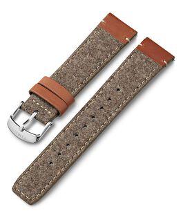 Bracelet en cuir et tissu 20mm Brun large