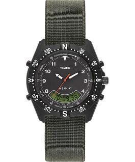 Montre NSN-1K 39mm Bracelet élastique Noir/Vert large