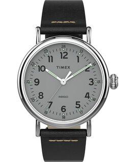 Montre Standard en cuir 40mm Silver-Tone/Black/Silver-Tone large