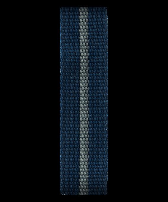 Bracelet une pièce en nylon bleu et gris  large