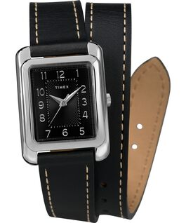 Montre Addison 25 mm Bracelet double tour en cuir Chrome/Noir large