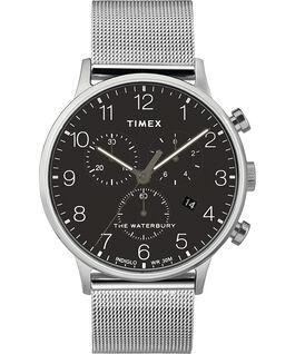Montre chronomètre Waterbury Classic 40mm bracelet à milanaise Acier inoxydable/Noir large