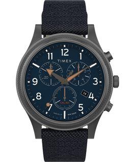 Montre chronomètre LT Allied 42mm Bracelet en tissu Gris métallique/Bleu large
