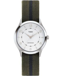 Montre Whitney Village 38mm bracelet en gros-grain et cadran blanc Acier inoxydable/Blanc large