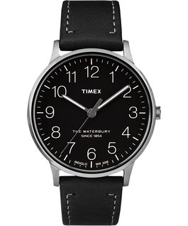 Waterbury 40mm Classic Leather Strap Watch Stainless-Steel/Black large