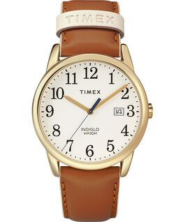 Easy Reader Color Pop 38mm Leather Strap Watch Gold-Tone/Tan/Cream large
