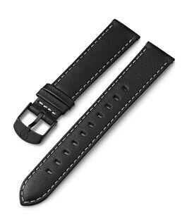 Bracelet en cuir surpiqûres blanches 18mm Noir large
