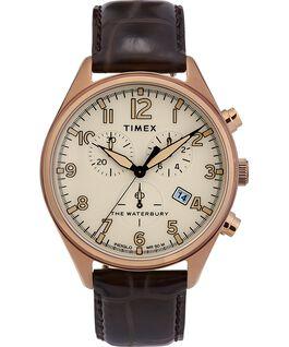 Montre chronomètre Waterbury Traditional trois cadrans 42mm Bracelet en cuir Doré/Marron large