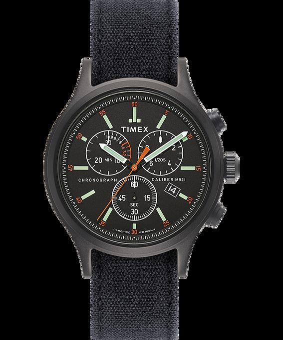 Montre chronomètre Allied 42mm Bracelet en denim délavé à la pierre Noir large