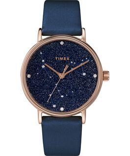 Celestial Opulence 37mm Textured Strap Watch Rose-Gold-Tone/Blue-CANCER,LEO,VIRGO large
