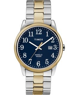 Easy Reader 38mm Stainless Steel Watch Expansion Band with Date Chrome/Two-Tone/Blue large