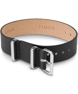 Bracelet en cuir une pièce couche simple 16mm argenté Noir large