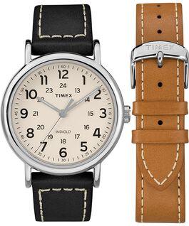 Coffret cadeau montre chronomètre Weekender 40mm avec bracelet deux pièces en cuir Chrome/Noir/Crème large