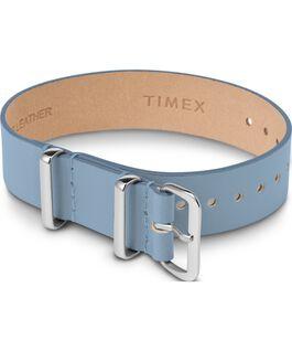 Bracelet en cuir une pièce couche simple 16mm argenté Bleu large