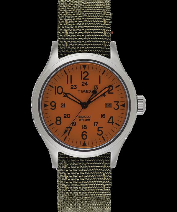 Montre Allied 40mm Bracelet en tissu réversible et réfléchissant Argenté/Blanc large