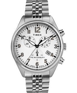 Montre bracelet chronomètre Waterbury Traditional trois cadrans 42mm Acier inoxydable Acier inoxydable/Blanc large