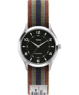 Montre Whitney Village 36mm Bracelet en gros-grain réversible Acier inoxydable/Noir large