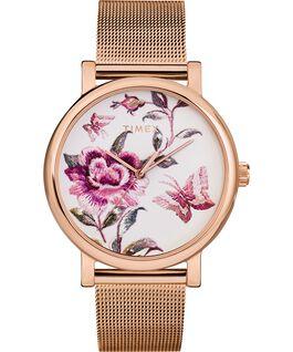 Montre Full Bloom 38mm Bracelet à mailles Rose doré/Rose large