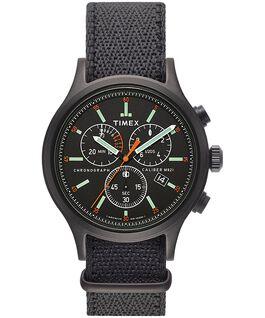 Montre chronomètre Allied 42mm avec bracelet en tissu Noir/Gris large