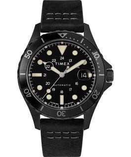 Montre automatique Navi XL 41mm Bracelet en cuir Acier inoxydable/Noir/Noir large