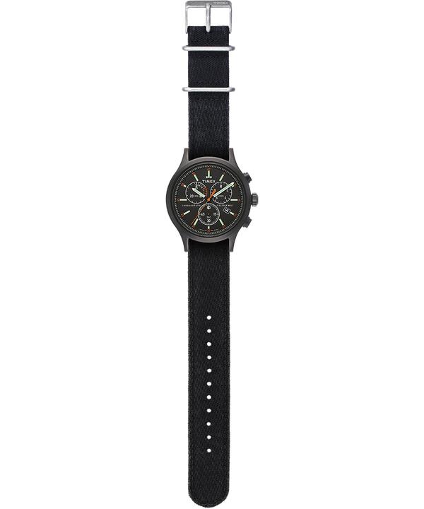 Montre chronomètre Allied 42 mm Bracelet en denim délavé à la pierre Noir large
