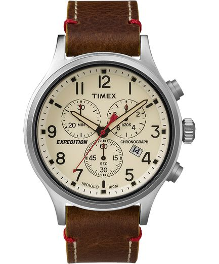 32d1b8970ca2 Reloj cron oacute grafo Expedition Scout de 42 nbsp mm con correa de cuero  Silver-