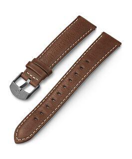 Bracelet en cuir surpiqûres blanches 18mm Marron large