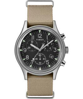MK1 Aluminum Chronograph 40mm Nylon Strap Watch Silver-Tone/Tan/Black large