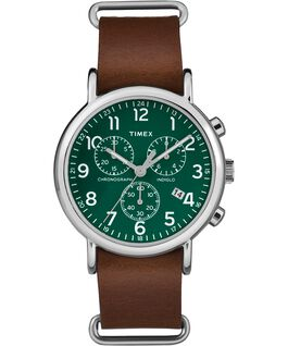 Weekender Chrono 40mm Dark Leather Watch Silver-Tone/Brown/Green large