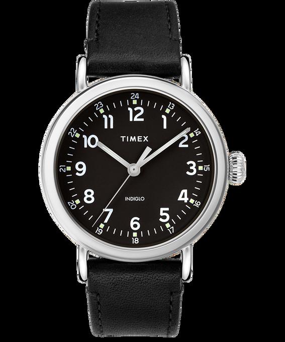 Montre Standard en cuir 40mm Argenté/Noir large