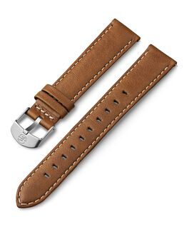Bracelet en cuir surpiqûres blanches 18mm Brun large