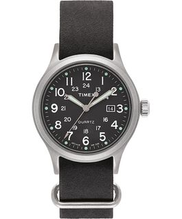 Montre Allied 40mm Bracelet en cuir délavé à la pierre Argenté/Noir/Vert large