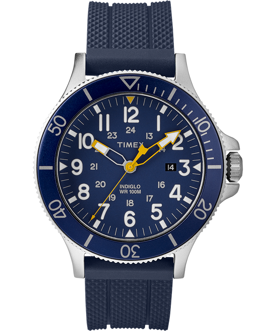 Allied Coastline 43mm Silicone Strap Watch Silver-Tone/Blue/Black large