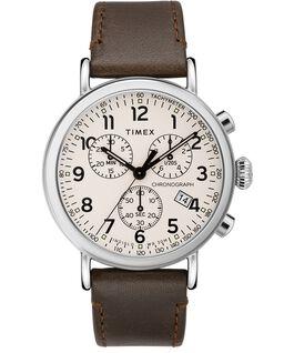 Montre chronomètre Standard 41mm bracelet en cuir Argenté/Marron/Crème large