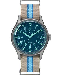 Montre MK1 California 40mm Bracelet en tissu Argenté/Gris/Bleu large