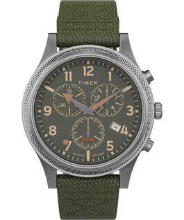 Montre chronomètre LT Allied 42mm Bracelet en tissu Argenté/Vert large