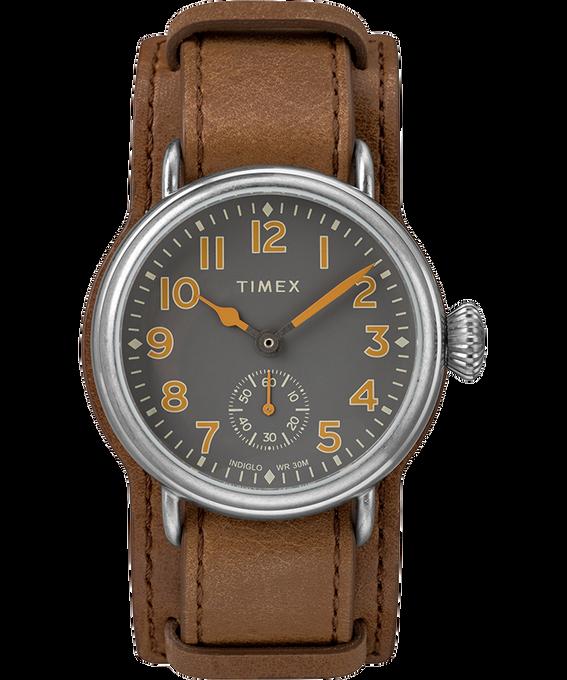 Montre Welton 38mm Bracelet en cuir Acier inoxydable/Marron/Noir large