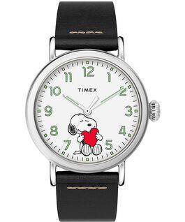 Montre standard Timex x Peanuts Saint-Valentin 40mm Bracelet en cuir Argenté/Noir/Blanc large