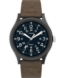 Montre MK1 40mm Acier et Bracelet en cuir Gris métallique/Marron large