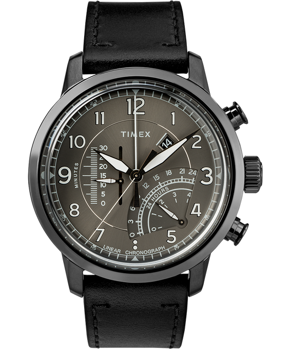 Waterbury Linear Chronograph 45mm Leather Watch Gray large