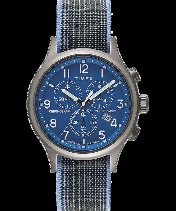 Montre chronomètre Allied 42mm Bracelet en tissu élastique Argenté large