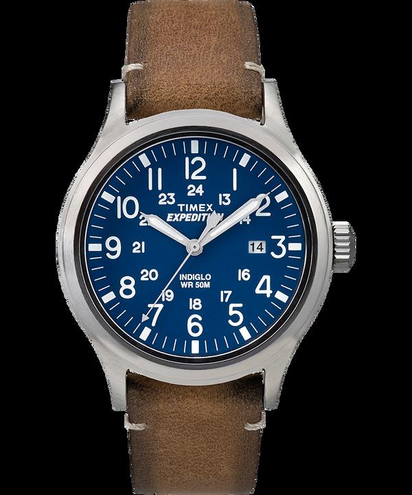 Montre Expedition Scout 40mm Bracelet en cuir Silver-Tone/Tan/Blue large