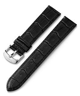 Bracelet en cuir 20mm motif crocodile à dégagement rapide Noir large