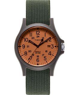 Montre Acadia à bracelet en tissu élastique 40mm Noir/Vert/Orange large