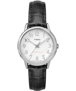 Montre Easy Reader 30 mm Bracelet en cuir Chrome/Black/White large