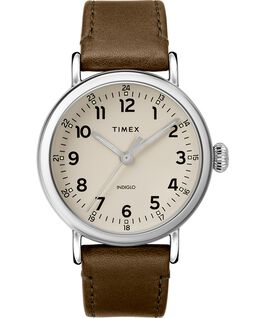 Montre Standard en cuir 40 mm Silver-Tone/Green/Gray large
