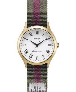 Montre Whitney Avenue 36mm Bracelet en gros-grain réversible Doré/Blanc large