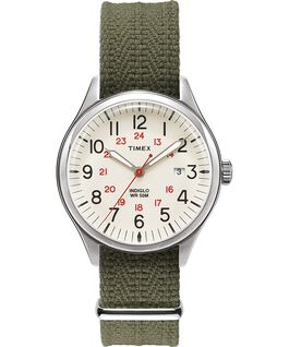 Montre Waterbury United 38 mm Bracelet en tissu Argenté/Vert/Naturel large