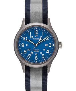 Montre Allied 40mm Bracelet en tissu réversible et réfléchissant Argenté/Bleu large