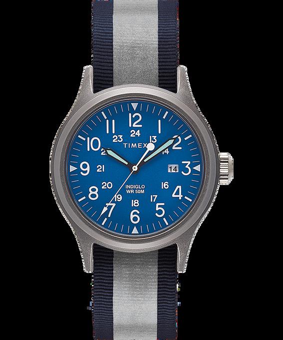 Montre Allied 40mm Bracelet en tissu réversible et réfléchissant Silver-Tone/Blue large